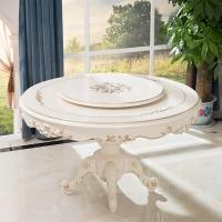 中伟ZHONGWEI欧式餐桌 豪华圆餐桌 实木圆餐桌椅组合餐桌梦幻白