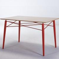 百思宜 小户型餐桌简约洽谈桌 铁艺餐桌 设计师家具 铁艺方桌红色120*80