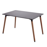 百思宜 现代简约餐桌北欧休闲长方形桌子小户型伊姆斯方桌咖啡厅简易桌子  黑木纹长桌120*80