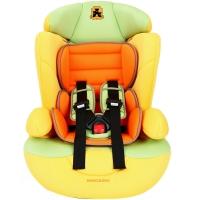 塞诺堡汽车儿童安全座椅 9个月-12岁宝宝儿童安全座椅汽车用 星盾-柠檬小黄 (安全带固定)