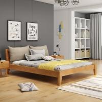 中伟实木床双人床成人床北欧床单人床公寓床卧室床1.8米*2米橡木家具原木色