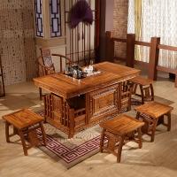 中伟实木茶桌实木茶台功夫茶桌中式茶几桌椅组合1600*800*760