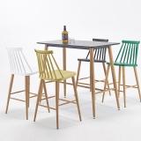 百思宜 吧桌 休闲吧台餐桌长方形酒吧桌 咖啡厅奶茶店高脚桌子酒吧桌 黑色120*60cm(不含椅子)