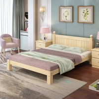 中伟实木双人床现代简约经济型木床租房床架双人2000*1500*40