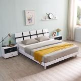 A家家具 床 双人床 现代简约卧室家具1.5米单人床 板木结合黑白套系烤漆  床+床头柜*2  HB101-150