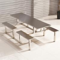 中伟 ZHONGWEI 学校员工食堂餐桌椅4人6人8人餐桌连体快餐桌椅组合 8人位不锈钢