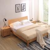 A家家具 床 北欧卧室实木床 日式简约1.5米双人床 原木色 BA002-150