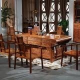 粤顺红木茶桌 功夫茶桌 实木中式茶桌椅组合办公家具1桌5文福椅 H008