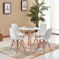 百思宜 餐桌椅现代简约洽谈桌椅组合休息区圆桌子椅子套装 白色一桌3椅组合(80圆桌)