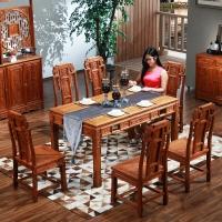 粤顺红木餐桌 实木餐台 花梨木长方形饭桌YS5301