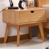 中伟床头柜实木新中式现代简约卧室床边柜胡桃木储物边柜角柜收纳柜