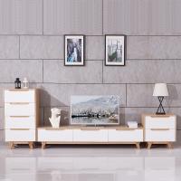 A家家具 北欧茶几+电视柜+二斗柜+四斗柜组合钢琴烤漆现代简约客厅原木色水曲柳组合墙 DB1611-03