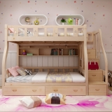 好事达易美定制松木上下床 小户型简约子母床  高低实木梯柜床1.2米(书架+床抽+梯柜)074