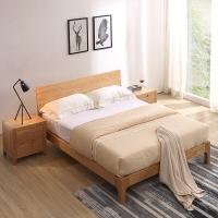 A家家具 北欧实木床 双人床1.5米卧室婚床现代简约 架子床 1.5米床+床头柜*1+床垫*1  BA002-150
