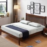 奈高北欧实木时尚双人床家用储物日式简约卧室单人公寓床1.8米*2米-胡桃色AA65