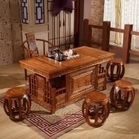 中伟实木茶桌椅组合功夫茶桌中式茶几桌实木茶台1600*800*760