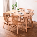家逸 实木餐桌椅组合小户型饭桌一桌四椅套装原木色