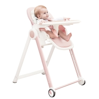 爱音(Aing)JA619儿童餐椅 欧式多功能婴儿餐椅四合一宝宝餐椅可折叠便携粉色JOY版