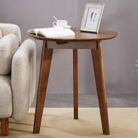 家逸圆形茶几实木简约边桌办公洽谈桌 小户型圆形餐桌 棕色
