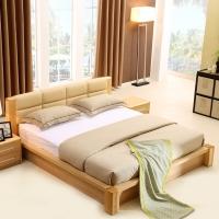 A家家具 床 实木床 1.5米双人床简约软包皮床 1.5米框架床+床头柜*1 Y3A0107-150