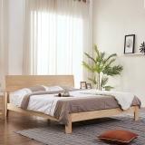 A家家具 床 双人床北欧日式白蜡木实木床卧室家具 架子床 1.8米床+床垫*1 BA007-180