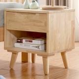 中伟实木床头柜 简约实木脚柜子储物柜斗柜文件柜原木色单斗