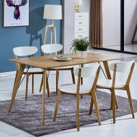 百思宜 北欧现代简约饭桌餐桌长方形桌子洽谈桌 原木色 贴皮桌面120cm*80cm(不含椅子)