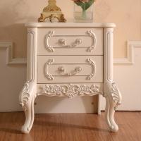 94027 床头柜 组装欧式经典床头柜法式雕花白色储物柜小地柜