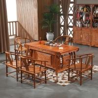 粤顺红木茶桌 花梨木茶几桌 中式功夫茶桌椅组合 实木泡茶桌 1桌5太师椅 H012