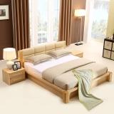A家家具 床 实木床 1.8米双人床简约软包皮床 1.8米框架床+床垫*1+床头柜*1 Y3A0107-180
