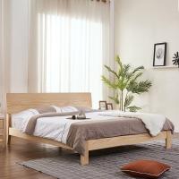 A家家具 床 双人床北欧日式实木床卧室家具 架子床 1.8米床+床头柜*1 BA007-180