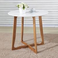 百思宜 餐桌 简约现代实木简约圆桌茶几时尚咖啡厅洽谈桌子 白色80*80cm(不含椅子)