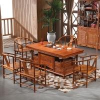 粤顺红木茶桌 花梨木茶桌椅组合 牡丹茶桌六件套H001