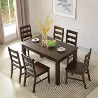 华谊(HUAYI) 餐桌 实木餐桌椅组合 橡木简约饭桌带抽屉方桌子 美式乡村餐厅家具 1.6米+餐椅6把7C6504102a