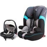 德国怡戈(Ekobebe)汽车儿童安全座椅 宝宝婴儿座椅  婴儿多功能提篮 组合套装 isofix硬接口固定 灰黑配