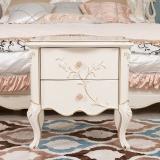 中伟ZHONGWEI欧式实木床头柜 法式床头柜床边双抽柜床头柜梦幻白