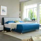 A家家具 床 布艺床 北欧卧室1.8米双人床 现代简约可拆洗软靠床 DA0121-180 蓝灰色