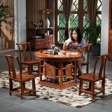 粤顺红木茶桌 功夫茶桌实木桌椅组合花梨木茶桌中式 1桌4官帽椅 H010