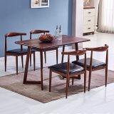 百思宜 现代简约餐桌椅组合长方形小户型饭桌金属仿木纹桌椅套装 胡桃色120*70cm(一桌4椅)