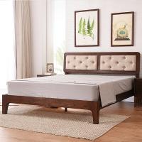 家逸实木床北欧简约双人床1.8米婚床白橡木胡桃色