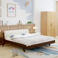 中伟实木床双人床公寓床成人床单人床北欧床简约卧室床胡桃色1.5米*2米