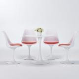 百思宜 郁金香现代简约餐桌椅 咖啡厅小圆桌洽谈桌椅组合   80cm白色/4椅(颜色请备注)