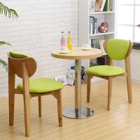 中伟北欧休闲餐桌奶茶店甜品店清吧蛋糕店西餐厅面馆桌椅组合简约清新圆形桌含椅子600*600*750