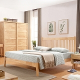 中伟实木床北欧床单人床成人双单人床公寓床简约卧室床原木色1.2米*2米