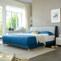 A家家具 床 布艺床 北欧卧室1.8米双人床 现代简约可拆洗软靠床 蓝灰色1.8米床+床垫*1+床头柜*2 DA0121-180