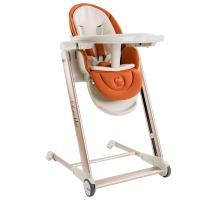 Babyruler儿童餐椅多功能宝宝餐椅婴儿餐椅可折叠便携CH999橙黄色