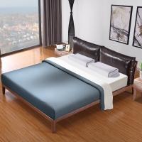 宜眠坊(ESF)床 皮艺床 1.5米双人现代北欧白蜡木实木床 EC21