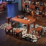 粤顺红木茶桌 花梨木茶桌椅组合 实木琴韵茶桌六件套H003