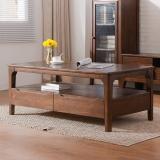 家逸北欧实木茶几 客厅实木茶桌多功能储物边几胡桃色