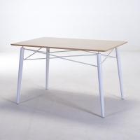 百思宜 小户型餐桌简约洽谈桌 铁艺餐桌 设计师家具 铁艺方桌白色120*80